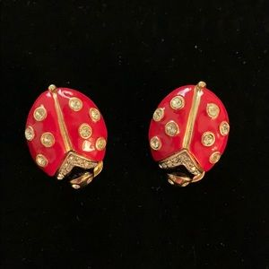Kenneth Jay Lane Ladybug Earrings- Clip On Style